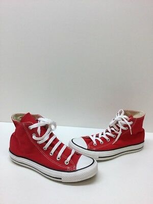 e5ee99285533 Converse All Star Red White Canvas Lace Up Hi Top Shoes Mens Size 6 Women s