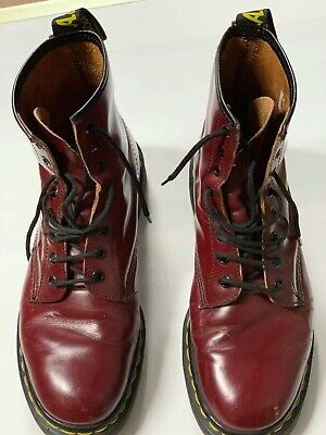Doc Martens US size 9.5 Cherry Red 8 ups Made in England