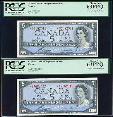 2 Consecutive 1954 Bank of Canada $5 Replacements *R/X - PCGS Choice New 63PPQ