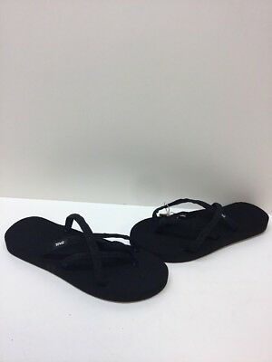 a3d3f58905bc Teva  Olowahu  Black Canvas Strappy Flip Flop Sandals Women s Size 9