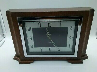 Smiths Electric Clock Working Vintage Mantel Wood Chrome Art Deco 1930's