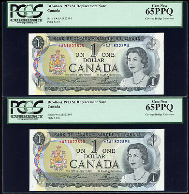 Lot of 2 Consecutive 1973 Bank of Canada $1 - PCGS Gem New 65PPQ - *AA1822894-95