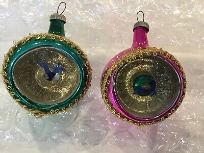 2 Vintage Mercury Glass Indent Christmas Ornaments
