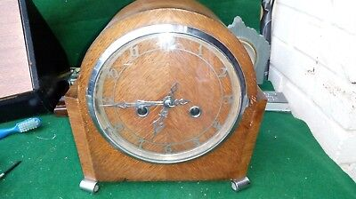 vintage British made wind up Wooden Mantel Clock Art Deco