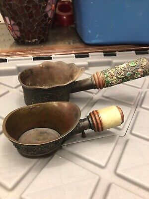 Vintage Chinese Brass Bronze Enameled And Jade Handle Silk Irons Two