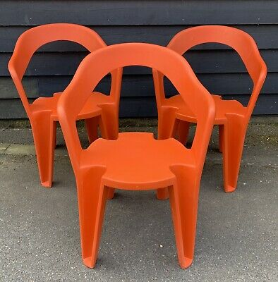 3 Retro Mid Century Orange Fibre Glass / Fiberglass Stacking Tub Dining Chairs