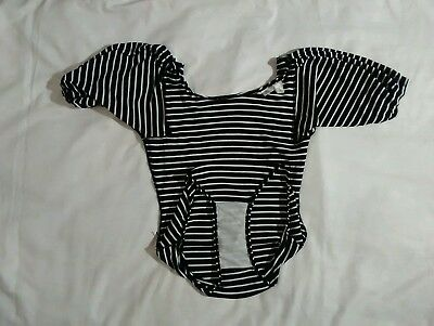 Black white striped one piece swimsuit leotard nylon polyester