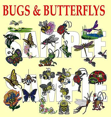 Bugs And Butterflies,  Pes Embroidery Machine Designs Cd