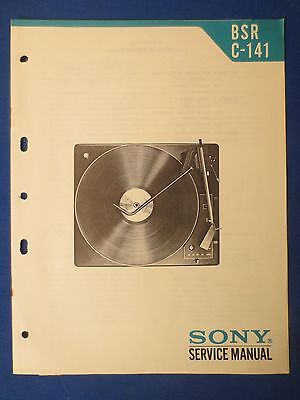 Sony Bsr C-141 Turntable Service Manual Factory Original Issue The Real Thing