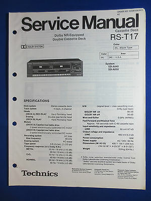 Original Technics Service Manual for the RS-D550W RS-B17W Cassette Deck~Repair