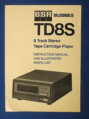 Bsr Mcdonald Td8S 8 Track Owner Manual With Exploded View Parts List Original