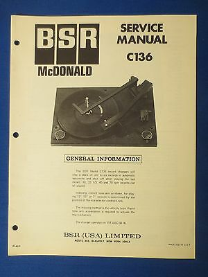 Bsr C136 Turntable Service Manual Factory Original The Real Thing