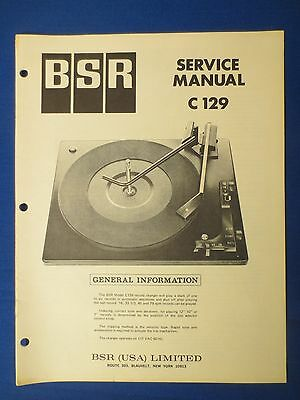 Bsr C129 Turntable Service Manual Factory Original The Real Thing
