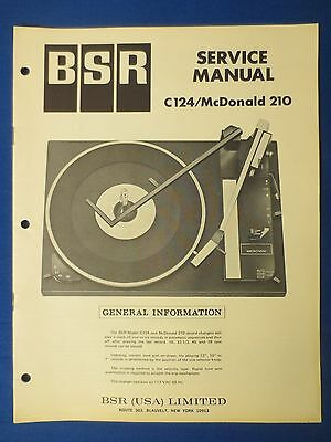 Bsr C124 Mcdonald 210 Turntable Service Manual Factory Original The Real Thing