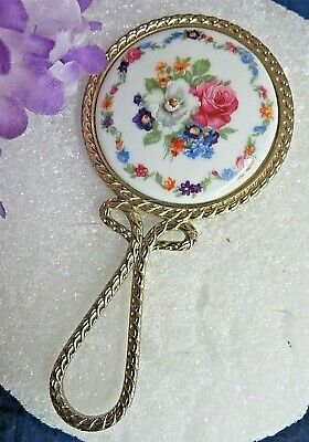 VINTAGE Limoges small PORCELAIN MIRROR hand painted FLORAL vanity DOLLS purse 5""