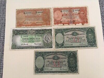 Set of 1 pounds  and 10 shillings x 5, 1942-1961