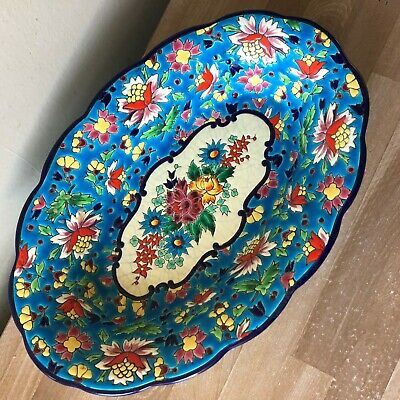 Lovely 1930s Longwy Art Deco Large Bowl Enamelled Floral Decoration