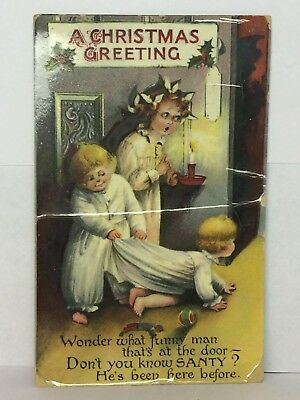 Postcard A Christmas Greeting Funny Saying Children Posted 12-21-1910 Germany