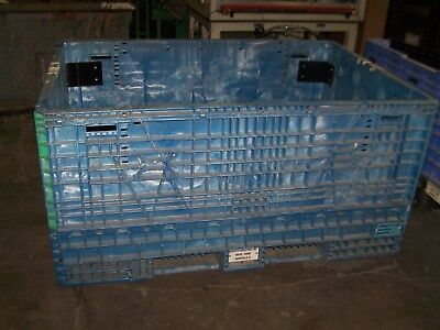 "48""x70""x34"" BRACED PLASTIC COLLASPABLE STACKABLE FOLDING GAYLORD SHIPPING CRATES"