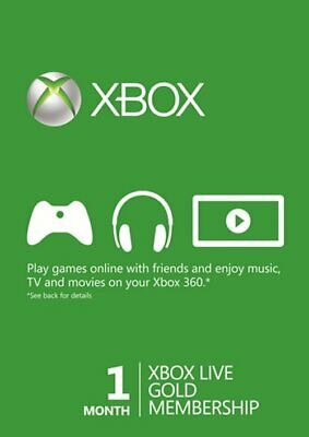 Xbox LIVE Gold 1 Month Membership For Microsoft Xbox One / Xbox 360