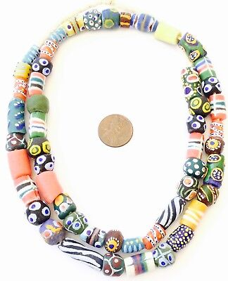 Cylinder African mixed recycled Glass Ghana African Trade Beads-Ghana