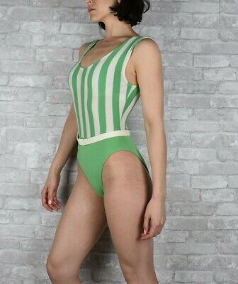 ace91f8b1c3e1 Vintage one piece extra small green striped bathing suit Le Fun Skin body  suit
