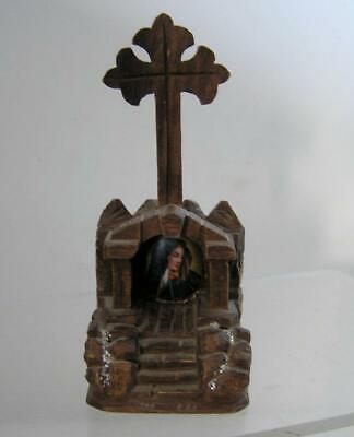 """Antique Virgin Mary Black forest Hand Carved Wood miniature Cross Shrine 5"""""""