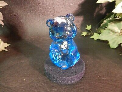 Fenton Clear  Sitting Bear - Ice Blue - Hand Painted - Artist Signed