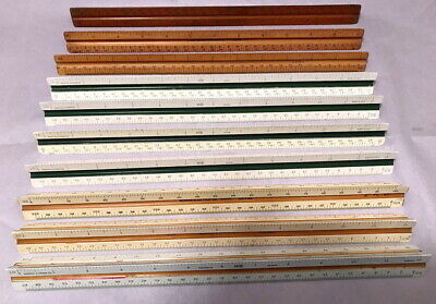 Lot Of 10 Very Nice Vintage Triangular Architectural & Engineers Scale Rules