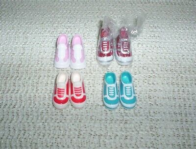 Barbie Doll Athletic Tennis Shoes Lot 4 Pairs Pink, Red, Blue/White 1 New Pair