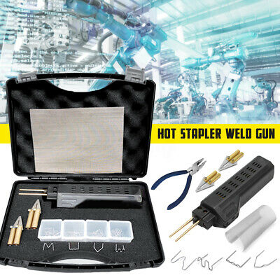 Car Hot Stapler Kit Bumper Plastic Welding Gun Torch Repair + 200x Staples 220V