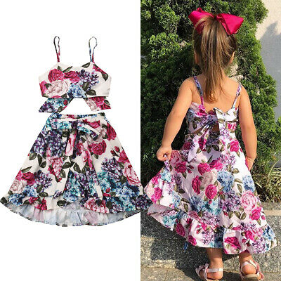 Kids Baby Girls Sleeveless Flower Sling Tops Party Skirts Dress Elastic Clothes