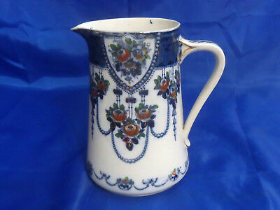 Antique British Anchor Pottery Co Ltd Pitcher, Floral, Swags, Circa 1891 - 1913