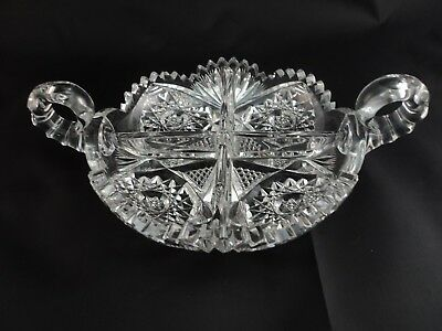 HTF American Brilliant ABP ABCG Cut Glass Caboret Divded Dish Handled Nappy