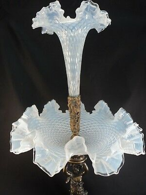 Antique Victorian Centerpiece Epergne White Opalescent Glass Cherub Angel Bronze
