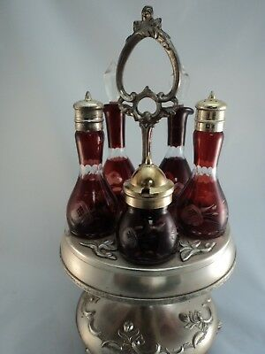 Antique Victorian Castor Cruet Set Ruby Cut To Clear 5 Bottle Matching Complete