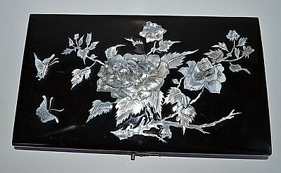 Antique Chinese Black Lacquer Mother of Pearl Inlay etched rose box cover repair