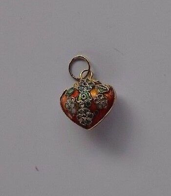 small antique Chinese cloisonne puffy heart pendant flower design