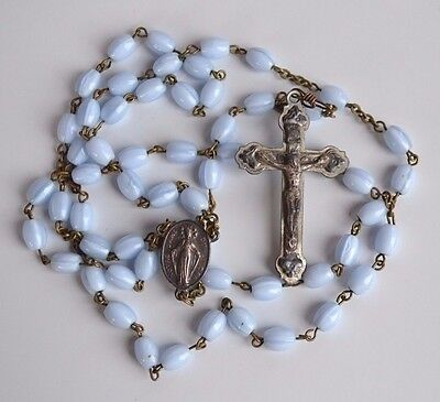 Antique Blue Opaline Glass Miraculous Medal Catholic Rosary Notre Dame Canada