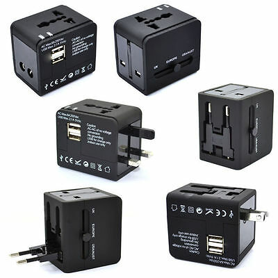 Universal Power Adapter Electric Converter US/AU/UK/EU USB Global Travel Outlet@