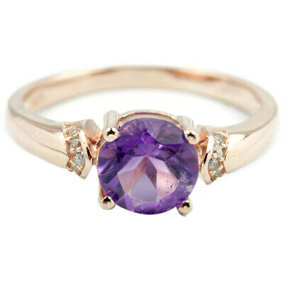 Natural Aaa Purple Amethyst Round & White Cz Sterling 925 Silver Ring Size 7
