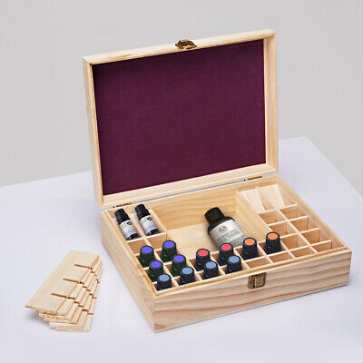 44Slot Essential Oil Box 5-15ml Bottle Aromatherapy Organizer Wooden Storage Box