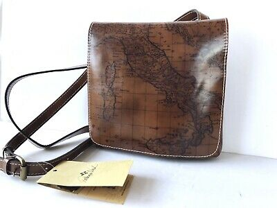 Patricia Nash~GRANADA Leather MAP PRINT Crossbody Purse~RIOT RUST~BROWN~NWT $129