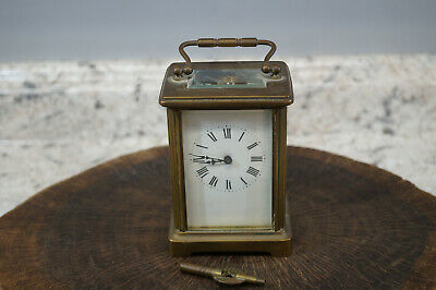 """Antique French Mechanical Brass Bevel Glass Carriage Clock 4 1/4"""" Tall"""