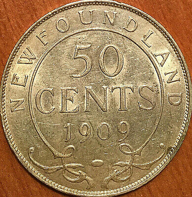 1909 NEWFOUNDLAND SILVER 50 CENTS FIFTY CENTS - Fantastic example! Close to Unc!