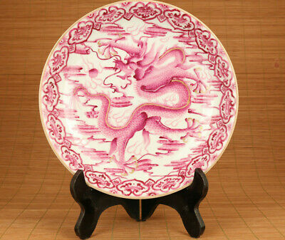 Big chinese old porcelain hand painting dragon plate home decoration
