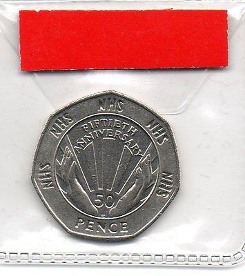 GREAT BRITAIN 50p pence coin 1998 50th Anniversary National Health Service NHS