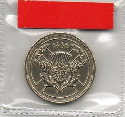 GREAT BRITAIN £2 pound coin 1986 XIII Commonwealth Games Scottish Thistle