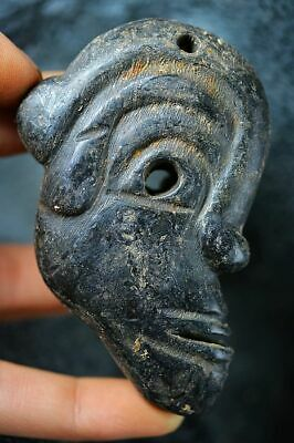 China Hongshan culture magnetic jade stone carved people Face statue/Pendant