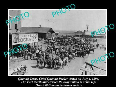 Old Postcard Size Photo Of Quanah Texas Chief Quanah Parker At The Station 1906